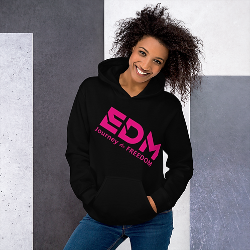Women's Unisex Hoodie EDM J to F Text Print Hot Pink - Various