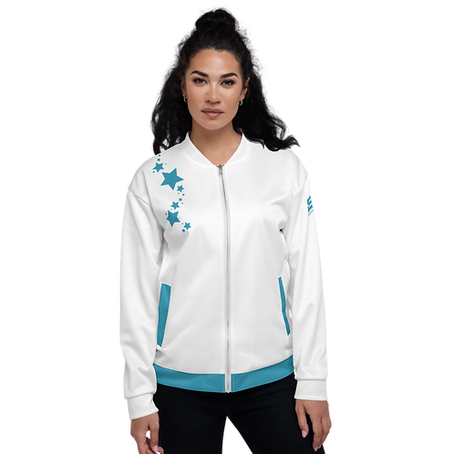 Women's Unisex Fit Bomber Jacket - EDM J to F - White Teal Blue Star
