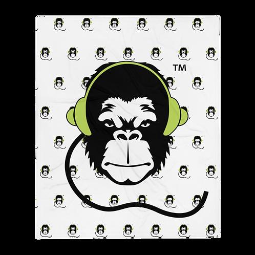 Fleece Throw Blanket - GS Music Academy Ape DJ Large & Pattern - White