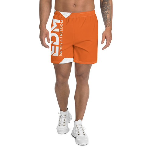 Men's Orange Long Shorts - EDM Journey to Freedom Print - White