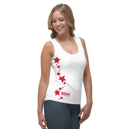 Women's Vest - EDM J to F Dark Red Star - White