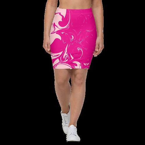 Women's Pencil Skirt-EDM J to F Hot Pink Swirl - Baby Pink