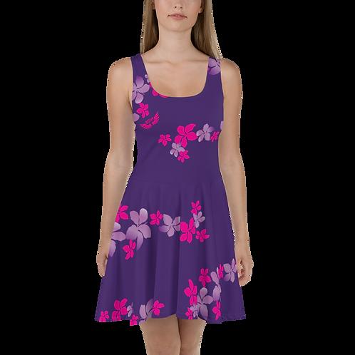 Women's Skater Dress Flower Pattern Print - Dark Purple