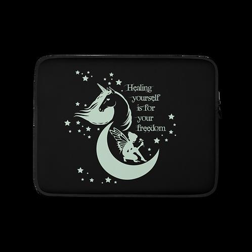 Laptop Case Zip Up - Unicorn Fairy Sage - Black