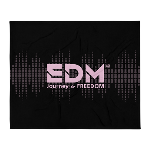 Fleece Throw Blanket - 50 x 60cm - EDM J to F Sound bars - Pink / Black