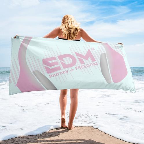 Beach / Bath Towel - EDM J to F Headphones Pink / Grey - Ice Blue