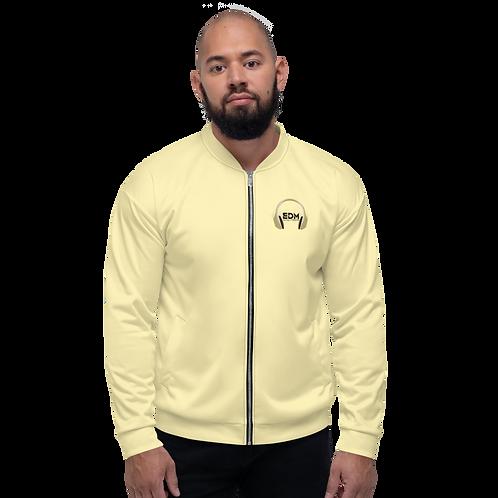 Mens Unisex Fit Bomber Jacket - EDM J to F - Pale Yellow Black Gold DJ Style
