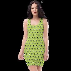 Womens Body Con Dress - GS Music Academy Ape Pattern - Green