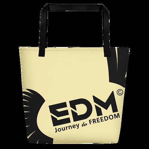 Beach Bag - Light Yellow EDM Journey to Freedom Print - Black