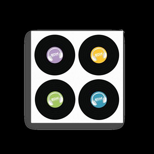 Square Canvas 12x12 / 16x16  - EDM J to F Record x 4 - White