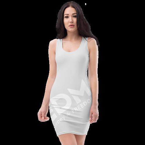 Body Con Dress - Ice Grey EDM Journey to Freedom No wings Print - White