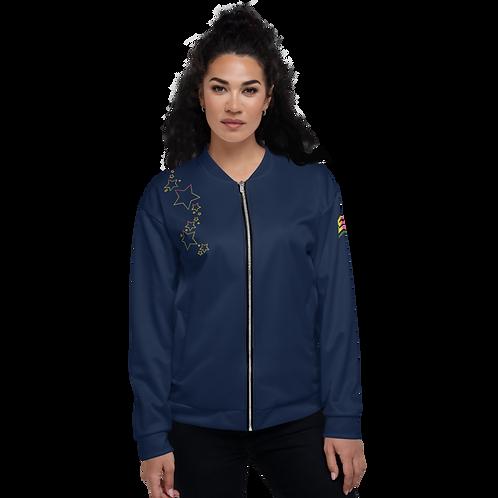 Womens Unisex Bomber Jacket - EDM J to F Rainbow Star - Navy