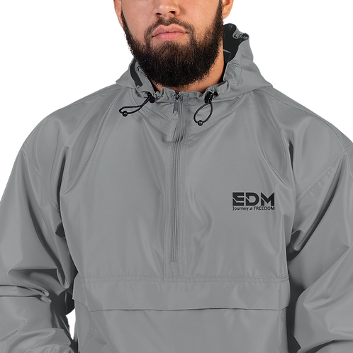 Embroidered Champion Packable Jacket - EDM J to F Grey