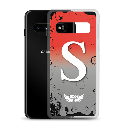 Samsung Case Red / Grey / White - EDM J to F Print - Personalised Initial