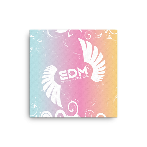 Canvas Assorted Sizes - EDM J to F Swirl Pattern Pink /Turquoise/Yellow/White