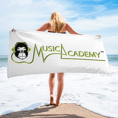 Beach / Bath Towel - GS Music Academy Ape / Text - White