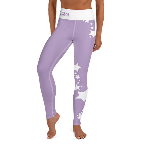 Women's Leggings White Star - EDM J to F Purple