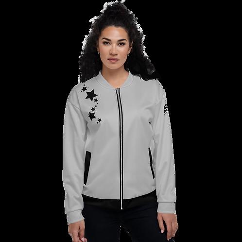 Women's Unisex Fit Bomber Jacket - EDM J to F - Grey Black Star
