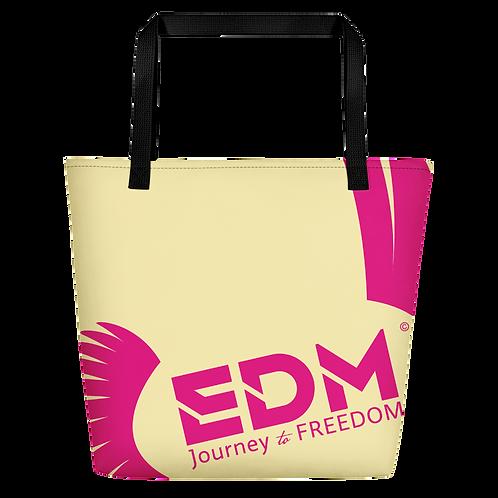 Beach Bag - Light Yellow EDM Journey to Freedom Print - Hot Pink