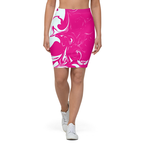 Women's Pencil Skirt-EDM J to F Hot Pink Swirl - Ice Blue