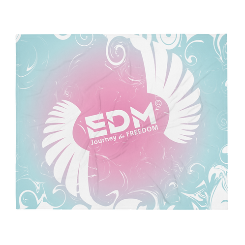 Fleece Throw Blanket -50 x 60cm - EDM J to F Swirl Design - Pink / Blue / White