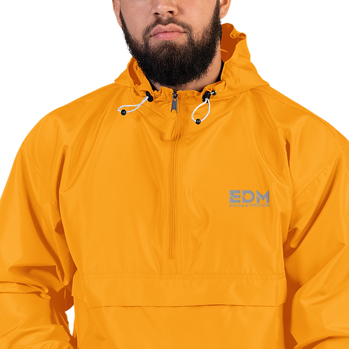 Mens Embroidered Champion Packable Jacket - EDM J to F Orange