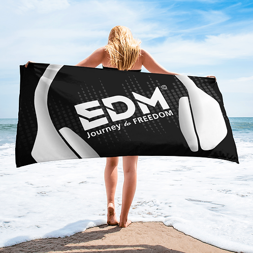 Beach / Bath Towel - EDM J to F Headphones White - Black