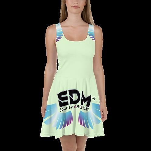 Womens Skater Dress - EDM J to F Multi Logo - Mint