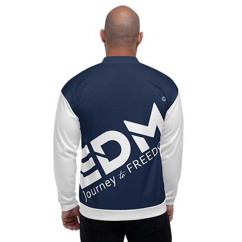 Men's Unisex Fit Bomber Jacket - EDM Journey to Freedom White / Navy