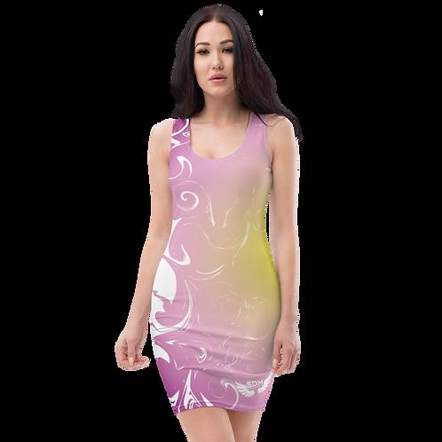 Body Con Dress - EDM J to F Purple/Yellow Circle Gradient Swirl - White