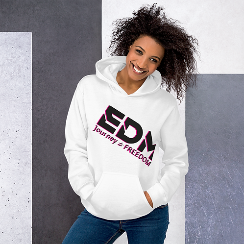 Women's Unisex Hoodie EDM J to F Style 3 Print Black/Hot Pink - White