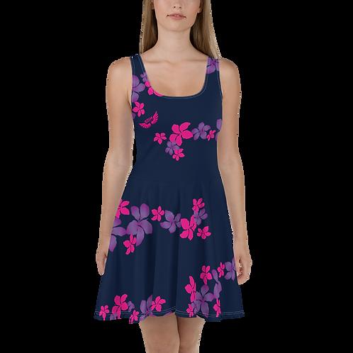 Women's Skater Dress Flower Pattern Print - Navy