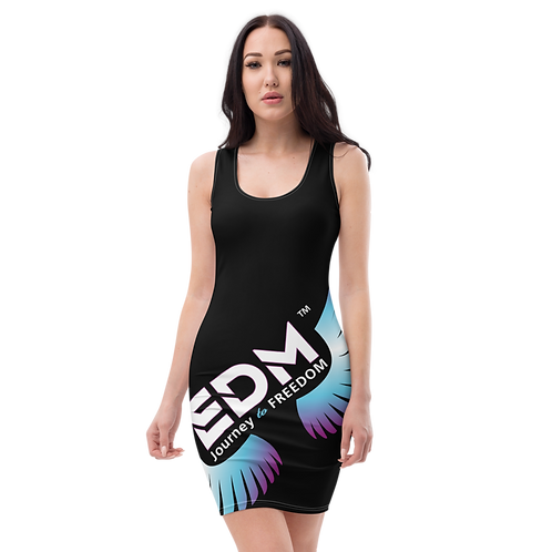 Body Con Dress EDM Journey to Freedom Multi Print - Black