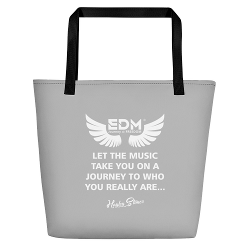 Beach Bag - EDM J to F Slogan Print - Grey