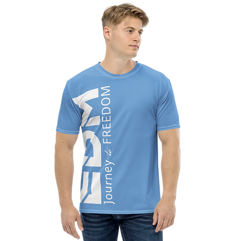 Men's T-shirt Dark Blue - EDM Journey to Freedom Large Print - White