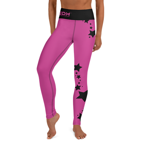 Women's Leggings Black Star - EDM J to F Dark Pink