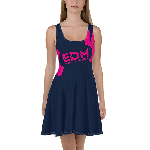 Womens Navy Skater Dress EDM Journey to Freedom Print Style 8 - Hot Pink