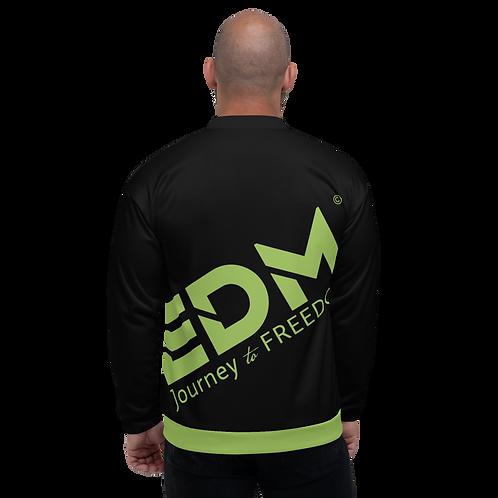 Men's Unisex Fit Bomber Jacket - EDM Journey to Freedom Black /Green