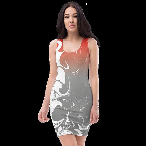 Body Con Dress - EDM J to F Red/Grey Gradient Swirl - White