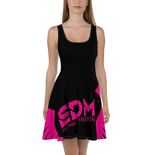 Womens Black Skater Dress EDM Journey to Freedom Print Style 6 - Hot Pink
