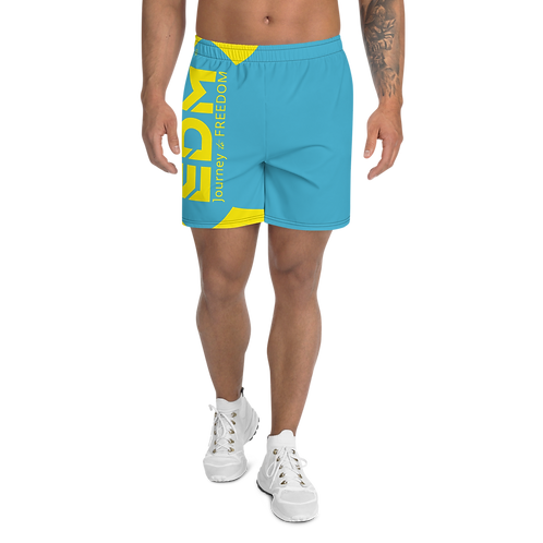 Men's Blue Long Shorts - EDM Journey to Freedom Print - Yellow