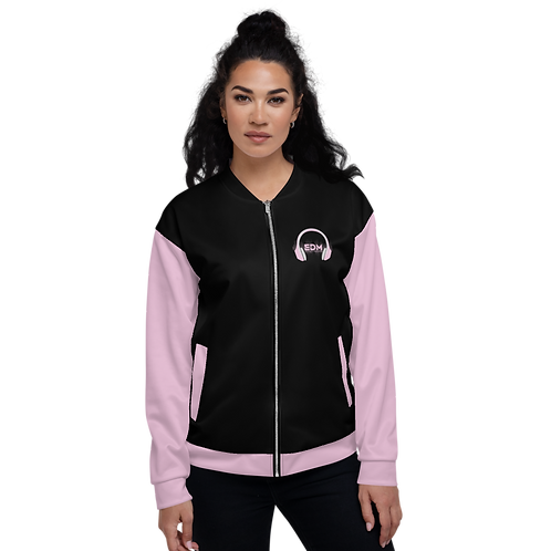 Women's Unisex Fit Bomber Jacket - EDM J to F - Pale Pink DJ Style - Black