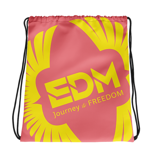 Coral Drawstring Bag - EDM Journey to Freedom Large Print - Yellow
