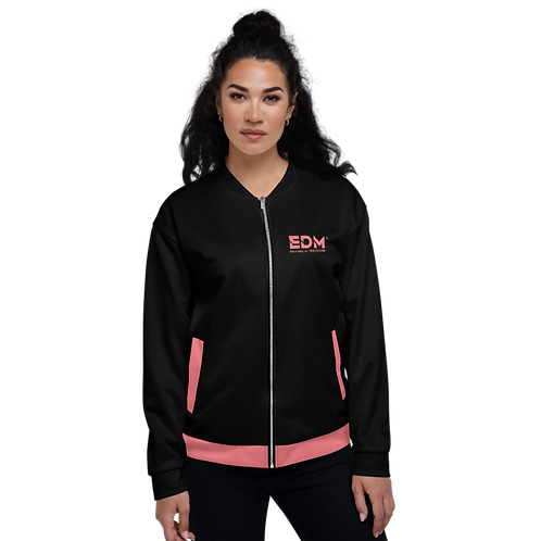 Womens Unisex Fit Bomber Jacket - EDM Journey to Freedom - Black / Coral