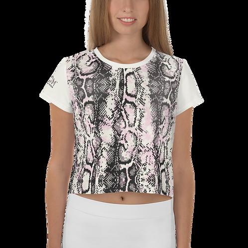 Womens Crop Top - EDM J to F Snake Print - Cream Sleeves
