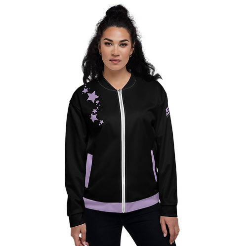 Women's Unisex Fit Bomber Jacket - EDM J to F - Black Purple Star