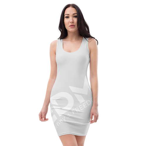 Body Con Dress - Ice Grey EDM Journey to Freedom No wings Print - White