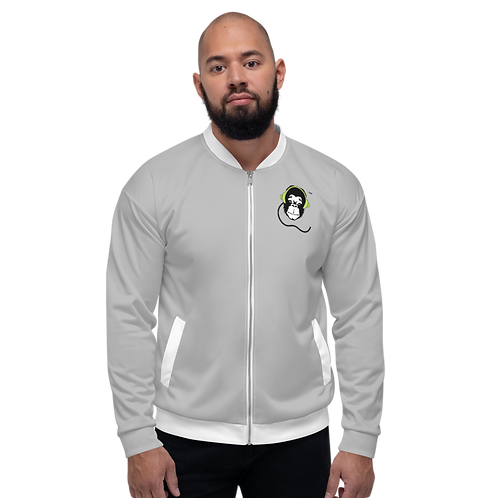 Mens Unisex Fit Bomber Jacket - GS Music Academy - Grey / Green Detail
