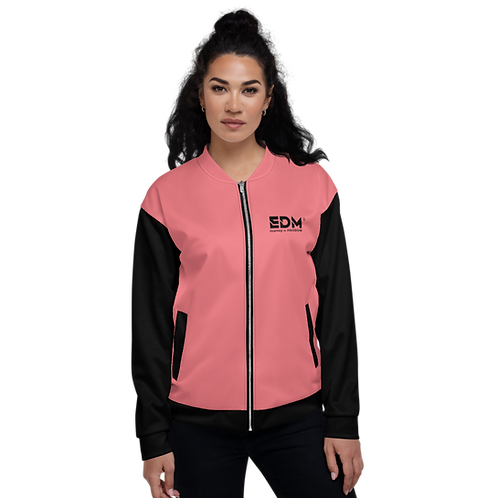 Womens Unisex Fit Bomber Jacket - EDM J to F Two-Tone Coral / Black