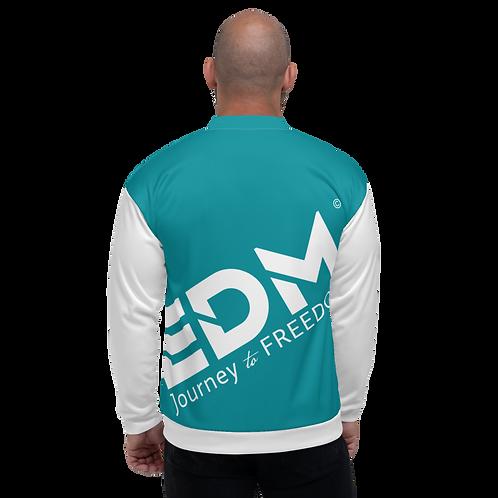 Men's Unisex Fit Bomber Jacket - EDM Journey to Freedom White / Teal